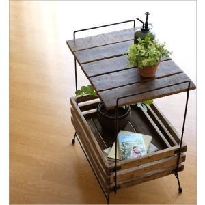 ウッドラック 棚 シェルフ 木製 アイアン すのこ 収納家具 サイドテーブル サイドラック ボックス レトロ アンティーク シャビーシックなラックテーブル|gigiliving|02
