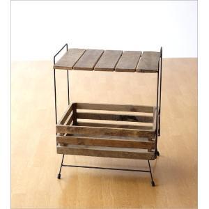 ウッドラック 棚 シェルフ 木製 アイアン すのこ 収納家具 サイドテーブル サイドラック ボックス レトロ アンティーク シャビーシックなラックテーブル|gigiliving|04