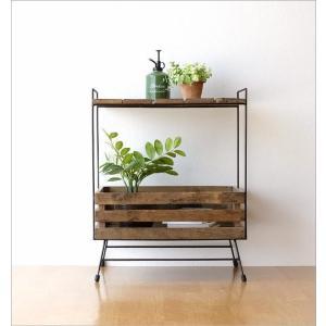 ウッドラック 棚 シェルフ 木製 アイアン すのこ 収納家具 サイドテーブル サイドラック ボックス レトロ アンティーク シャビーシックなラックテーブル|gigiliving|05