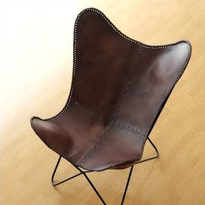 レザーチェア 本革 アイアン アンティーク レトロ 革製 椅子 イス レザーチェアー おしゃれ モダン リビングチェア 革張り 背もたれ レザーバタフライチェアー|gigiliving