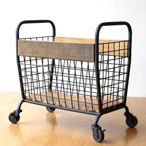 カート 収納ボックス キャスター付き リビング収納 アイアン 木製 メッシュ おしゃれ モダン アンティーク レトロ シャビーウッドとアイアンのカート|gigiliving