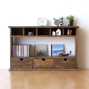 飾り棚 飾棚 木製 シェルフ アンティーク 家具 レトロ ディスプレイラック 小物入れ シャビーシックなラック&ドロアー|gigiliving