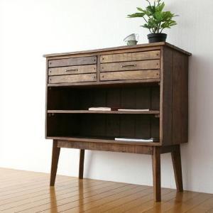 キャビネット 木製 アンティーク 家具 リビングボード サイドボード シャビーシックなオープンディスプレイラック|gigiliving