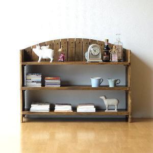棚 シェルフ ウッドラック 飾り棚 飾棚 木製 小物収納 アンティーク レトロ ヴィンテージ シャビーシックな3段ラックアーチ型|gigiliving