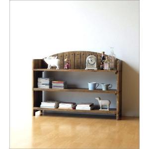 棚 シェルフ ウッドラック 飾り棚 飾棚 木製 小物収納 アンティーク レトロ ヴィンテージ シャビーシックな3段ラックアーチ型|gigiliving|02