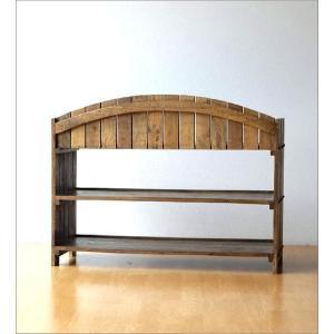 棚 シェルフ ウッドラック 飾り棚 飾棚 木製 小物収納 アンティーク レトロ ヴィンテージ シャビーシックな3段ラックアーチ型|gigiliving|05