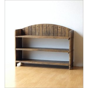 棚 シェルフ ウッドラック 飾り棚 飾棚 木製 小物収納 アンティーク レトロ ヴィンテージ シャビーシックな3段ラックアーチ型|gigiliving|06