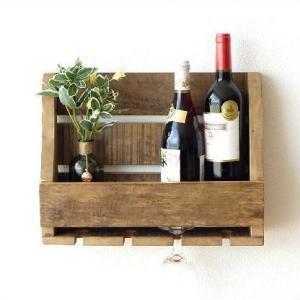 壁掛けラック 棚 木製 ワインラック 壁掛け キッチンシェルフ ウォールポケット 収納 ウォールラック 調味料ラック シャビーシックなキッチンウォールシェルフ|gigiliving