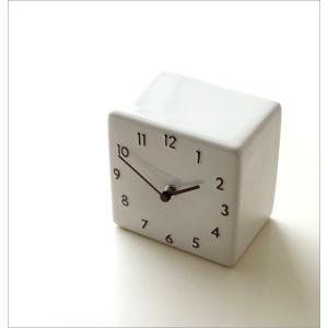置き時計 おしゃれ アナログ 陶器 日本製 美濃焼 シンプル セラミックデスククロック A|gigiliving|02