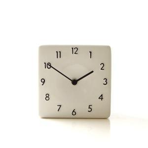 置き時計 おしゃれ アナログ 陶器 日本製 美濃焼 シンプル セラミックデスククロック B|gigiliving