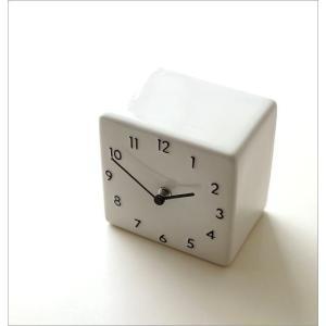 置き時計 おしゃれ アナログ 陶器 日本製 美濃焼 シンプル セラミックデスククロック B|gigiliving|02