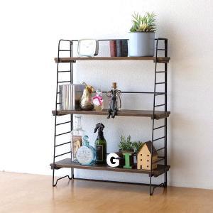 本棚 ヴィンテージ おしゃれ 木製 収納 ラック 飾り棚 飾棚 書棚 アンティーク 家具 シャビーシックなアイアン&ウッドシェルフ|gigiliving
