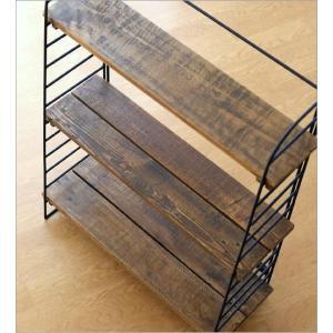 本棚 ヴィンテージ おしゃれ 木製 収納 ラック 飾り棚 飾棚 書棚 アンティーク 家具 シャビーシックなアイアン&ウッドシェルフ gigiliving 05