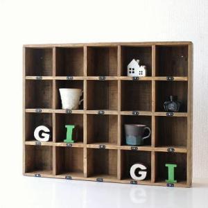 コレクション棚 飾り棚 飾棚 木製 仕切り棚 コレクションラック 番号付き レトロ シャビーシックなマルチ20ボックス|gigiliving