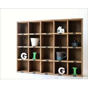 コレクション棚 飾り棚 飾棚 木製 仕切り棚 コレクションラック 番号付き レトロ シャビーシックなマルチ20ボックス|gigiliving|02