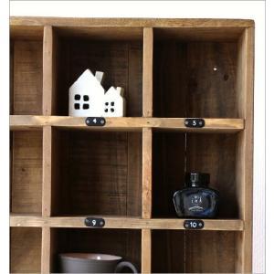 コレクション棚 飾り棚 飾棚 木製 仕切り棚 コレクションラック 番号付き レトロ シャビーシックなマルチ20ボックス|gigiliving|03