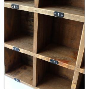 コレクション棚 飾り棚 飾棚 木製 仕切り棚 コレクションラック 番号付き レトロ シャビーシックなマルチ20ボックス|gigiliving|04