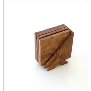 コースター 木製 4枚セット スタンド ケース付き おしゃれ ウッド 木 シンプル 天然木 スクエア 四角 木目 敷物 花瓶敷き チークコースター4セット|gigiliving|04