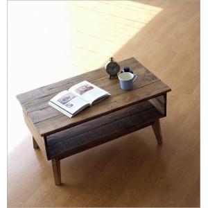 ローテーブル シャビーシック 木製 アンティーク カントリー レトロ おしゃれ 収納 ビンテージ ヴィンテージ風 コンパクト シャビーシックな棚付きローテーブル|gigiliving|02