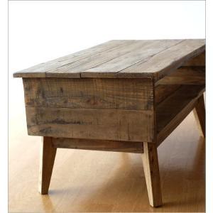 ローテーブル シャビーシック 木製 アンティーク カントリー レトロ おしゃれ 収納 ビンテージ ヴィンテージ風 コンパクト シャビーシックな棚付きローテーブル|gigiliving|06