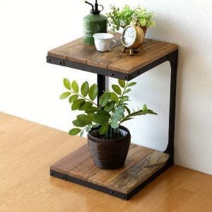 サイドテーブル 木製 アンティーク 天然木 無垢 アイアン 鉄脚 おしゃれ ベッドサイドテーブル ソファサイドテーブル 収納棚 シャビーシックなサイドラック|gigiliving