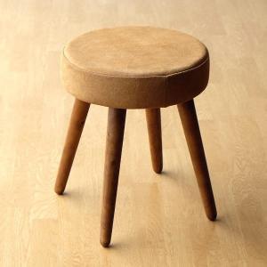 スツール 丸椅子 丸イス おしゃれ アンティーク 革 レザー 木製 クッション 本革 天然木 シンプル ナチュラル 玄関 レザーとウッドのサークルスツール|gigiliving