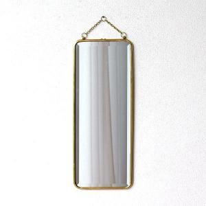 鏡 壁掛けミラー おしゃれ アンティーク レトロ ゴールド ウォールミラー シンプル 玄関 洗面所 トイレ 長方形 縦長 スタイリッシュ 真鍮の壁掛けミラーロング|gigiliving