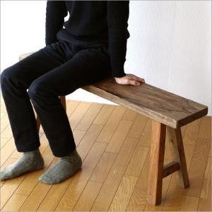 ベンチ 木製ベンチ ウッドベンチ 天然木 スリム 省スペース 長椅子 レトロ シャビーシックなウッドベンチ|gigiliving