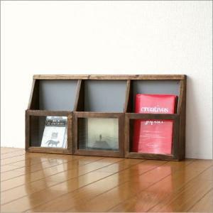 壁掛け 棚 収納 レターラック ウォールポケット ウォールラック シャビーシックな3ディスプレイシェルフ|gigiliving