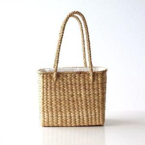 弾力性としなやかさを兼ね備えた 天然素材の ウォーターヒヤシンスの水草で編んだ かごバッグです  し...