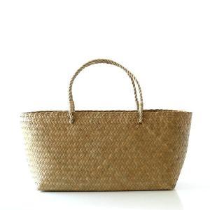 かごバッグ カチュー水草 トート かご 収納 小物入れ ピクニックバスケット かばん 編みバッグ 天然素材 ナチュラル シンプル カチュー水草カゴバッグ オーバルL|gigiliving
