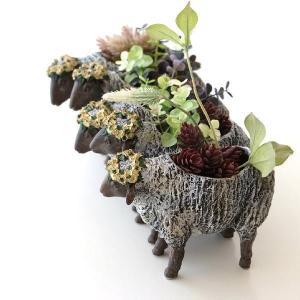 フラワーベース 花瓶 かわいい 可愛い 羊 ひつじ 動物 アニマル 花器 フラワーポット 置物 インテリア オブジェ 5匹のヒツジベース|gigiliving