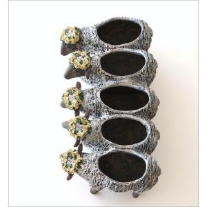 フラワーベース 花瓶 かわいい 可愛い 羊 ひつじ 動物 アニマル 花器 フラワーポット 置物 インテリア オブジェ 5匹のヒツジベース|gigiliving|03