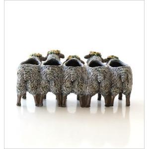 フラワーベース 花瓶 かわいい 可愛い 羊 ひつじ 動物 アニマル 花器 フラワーポット 置物 インテリア オブジェ 5匹のヒツジベース|gigiliving|05