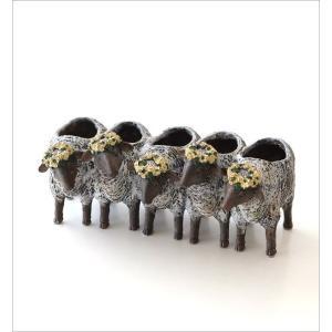 フラワーベース 花瓶 かわいい 可愛い 羊 ひつじ 動物 アニマル 花器 フラワーポット 置物 インテリア オブジェ 5匹のヒツジベース|gigiliving|06