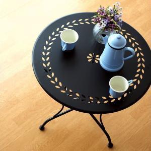 ガーデンテーブル おしゃれ アイアン 黒 エレガント 丸テーブル ラウンドテーブル カフェテーブル 屋外 インテリア メタルブラックガーデンテーブル|gigiliving