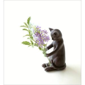 一輪挿し 花瓶 花びん 猫 置物 ネコ 雑貨 かわいい ねこ インテリアオブジェ 試験管 ガラス 花器 フラワーベース ペン立て ペンホルダー ネコの一輪挿し|gigiliving|02