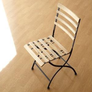 ガーデンチェア おしゃれ アイアン 木製 折りたたみ 椅子 コンパクト ナチュラル アイアンとウッドのフォールディングチェアー|gigiliving