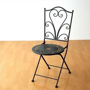 ガーデンチェア おしゃれ アイアン 黒 エレガント 折りたたみ インテリア チェアー 屋外 椅子 ベランダ テラス バルコニー メタルブラックガーデンチェアー|gigiliving