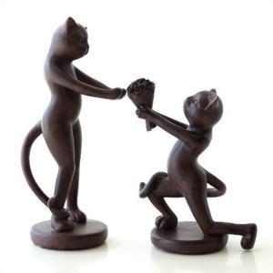 猫 置物 オブジェ ネコ かわいい おしゃれ インテリア 雑貨 キャットプロポーズペア|gigiliving
