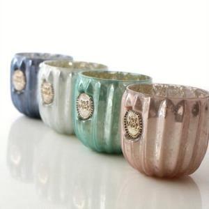 キャンドルホルダー ガラス ティーライトキャンドル付き キャンドルホルダーパステル 4カラー