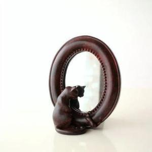 猫雑貨 ねこ 置物 置き物 オブジェ 鏡 かわいい 卓上 ミラー ネコとミニマウスのスタンドミラー|gigiliving