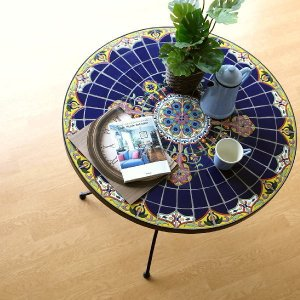 ガーデンテーブル タイル おしゃれ アイアン 円形 丸型 ガーデン 丸テーブル お庭 エクステリア ベランダ テラス バルコニー ガーデンテーブル モザイクブルー|gigiliving