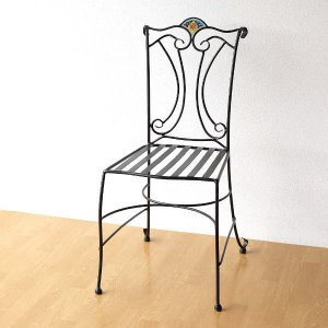ガーデンチェア アイアン おしゃれ エレガント タイル エクステリア お庭 椅子 チェアー ベランダ バルコニー テラス カフェ ガーデンチェア モザイクブルー|gigiliving