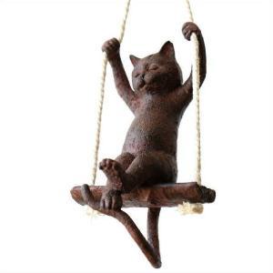 猫 雑貨 オブジェ オーナメント 壁掛け 吊り下げ かわいい ネコ グッズ インテリア キャットブランコ|gigiliving