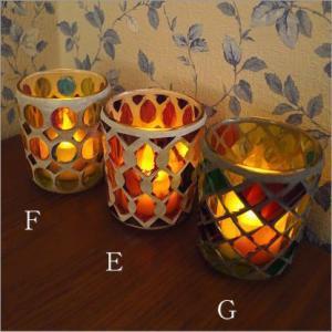キャンドルホルダー ガラス モザイクガラスのキャンドルカップ|gigiliving