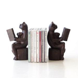 ブックエンド おしゃれ かわいい 本立て 本立 ブックスタンド 猫 ねこ 雑貨 置物 置き物 CDスタンド 卓上 収納 インテリア ディスプレイ ネコのブックエンドB gigiliving