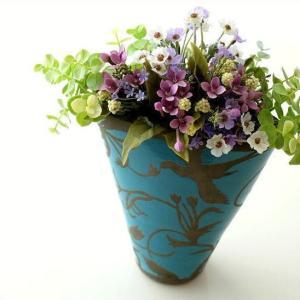 フラワーベース 花瓶 花びん 陶器 花器 おしゃれ アンティーク 横長 口が広い 花入れ 洋風 モダン かわいい インテリア 陶器のベース スモールブルー|gigiliving