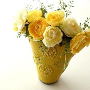 フラワーベース 花瓶 花びん 陶器 花器 おしゃれ アンティーク 横長 口が広い 花入れ 洋風 モダン かわいい インテリア 陶器のベース スモールイエロー|gigiliving