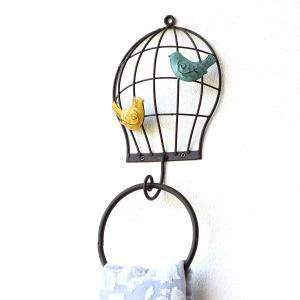 タオルリング おしゃれ アイアン タオルハンガー タオル掛け かわいい レトロ アンティーク シャビー 鳥 レトロアイアンのタオルハンガー バードゲージ